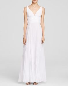 Laundry by Shelli Segal Gown - Sleeveless V-Neck Low Back Pleated Skirt | Bloomingdale's