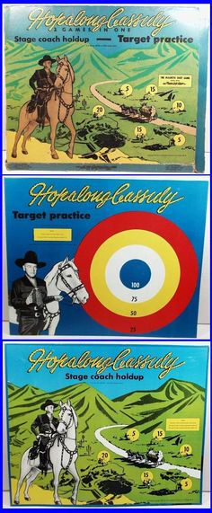 1950 HOPALONG CASSIDY Target Practice & Stage Coach Holdup Magnetic Dart Game Darts Game, Stage Coach, Target Practice, Advertising, Posters, Movie, Tv, Games, Products