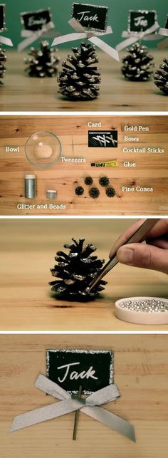 Name Card Holders from Pine Cones | DIY Christmas Table Decorations Ideas | Elegant Christmas Table Decor Ideas for the Holidays