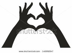 The connected two hands and heart silhouette. - stock vector