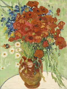 VINCENT VAN GOGH 1853 - 1890 NATURE MORTE, VASE AUX MARGUERITES ET COQUELICOTS Oil on canvas 26 by 20 1/8 in. Painted on June 16-17, 1890