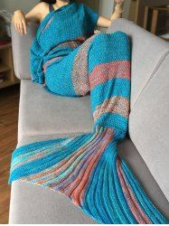 Comfortable Colorful Stripe Pattern Mermaid Tail Shape Blanket For Adult (CYAN) | Sammydress.com Mobile