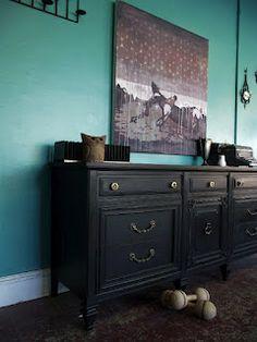 Vintage Ground: Black Classic Vintage Nine Drawer Buffet / Dresser
