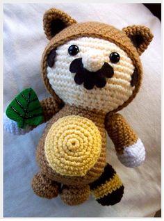 super mario bros 3 tanooki suit doll - amigurumi no pattern Crochet Geek, Crochet Gifts, Cute Crochet, Crochet Dolls, Knit Crochet, Amigurumi Patterns, Amigurumi Doll, Crochet Patterns, Crochet Super Mario