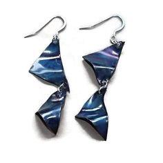 blue wavy triangles copper earrings by LunaLocoJewellery on Etsy