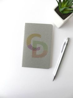 Hand embroidered notebook 2 initials bright personalized