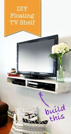 DIY Floating TV Shelf. This looks so easy to make!