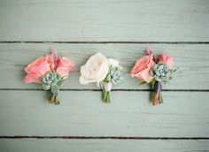 The mothers will wear pinned on corsages of blush spray roses and small gray succulent wrapped in thin ivory ribbon with the stems showing.