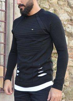 Modagen.com | Erkek Giyim, Erkeklere Özel Alışveriş Sitesi ~ Erkek Tarz Siyah Beyaz Detayli Sweatshirt