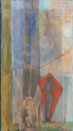 daring to fly a kite of cadmium and light ~ mixed media ~ by dawn chandler ~ www.taosdawn.com