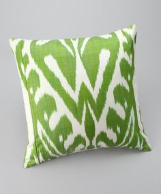 Take a look at this Lime & White Ikat Silk-Blend Square Down Pillow by Frog Hill Designs on #zulily today!