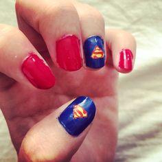 Superman diy nails art creative hero nice cool Clark Kent