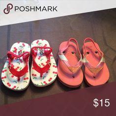 Flip flop bundle Cute cherry flip flops size 5/6  & pink flip flops size 6 Shoes Sandals & Flip Flops