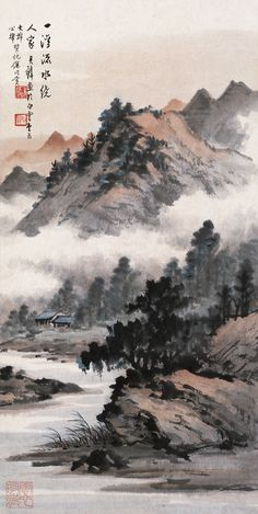 Browse a large selection of original Chinese & Japanese brushes, Rice paper & supplies for Asian Brush painting, Sumi-e, Calligraphy & Seal Carving Chinese Landscape Painting, Japanese Landscape, Chinese Painting, Watercolor Landscape, Chinese Art, Landscape Art, Landscape Paintings, Landscapes, Japanese Drawings