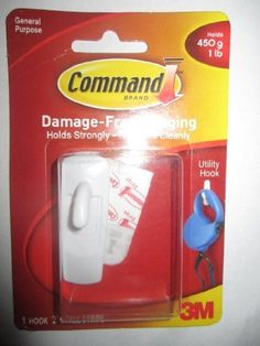 3m Command 17002d White Utility Hook-hanging Strip, (Holds 450g 1lb) by 3M. $9.25. Product Features Damage-free hanging  No nail holes  Hold strongly, removes cleanly  Works on a variety of surfaces   1 hook 2 small strips