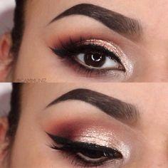 Brown Eyes Champagne Sparkle. Makeup Geek Eyesdows + Stila Magnificent Metal Foil in KITTEN