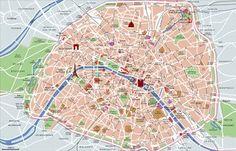 Mapa turistico de museus, pontos turísticos, lugares turísticos, monumentos e atrações de Paris