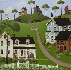 Folk Art Prints | Folk Art Print Higginsville by catherineholman on Etsy