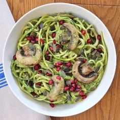 Courgette Spaghetti with Minted Avocado & Brazil Nut Sauce: gluten and dairy free