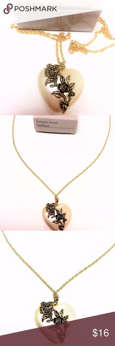 """NEW Vintage Avon Heart Necklace 1991 (30"""") NEW Avon Vintage Jewelry   Beautiful Lustrous Heart Pendant Necklace 30'' long  Gold Plated Flower on the heart  This beautiful piece was made in 1991 by Avon. This is a never worn brand new item. It comes with the Original Manufacture box. (0003)  Shipping & Handling:  All items listed in Kat Beauty & Food Warehouse are currently in stock and are ready to be shipped out within 1-2 business days from California. All paid items will be processed…"""