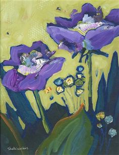 Purple Flowers No 1 by Shelli Walters | acrylic painting | Ugallery Online Art Gallery