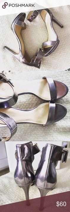 Calvin Klein heels Vivian mirror metallic sandals, worn ONCE absolutely gorgeous gunmetal color. Not-a-single-scratch, ships in original box. Calvin Klein Shoes Heels