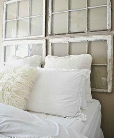 DIY Antique Window Headboard   Click for 18 DIY Headboard Ideas   DIY Bedroom Decor Ideas on a Budget