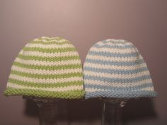 95b77743 Items similar to Knitted Baby Hats - Hand Knit Hats for Twins, Blue and  White and Green and White Stripes on Etsy