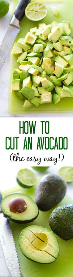"Learn how to cut an avocado easily and quickly every time with this simple step-by-step photo tutorial! One simple little ""secret"" revealed that will give you perfectly-cut avocado every time. @WholeHeavenly"