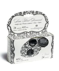 David's Bridal Love Bird Damask Single Use Camera Style 9200 by David's Bridal. $30.57. Capture the special moments that are often missed by adding this camera to your festivities. Entice guests to snap photos of the celebration by grouping them on a table or alongside each centerpiece. Features and Facts: Single use 35mm camera includes flash, indoor film and 24 exposures. Color Film. Camera is white with black damask print.