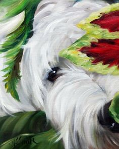Mary Sparrow Smith from Hanging the Moon - peek a book westie dog art, painting, home decor, gift ideas, portrait