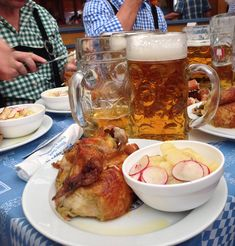 A time-honoured favourite is half a roast chicken. It goes perfectly with beer. Prost!