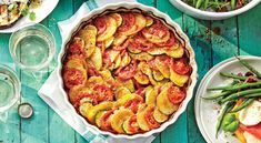 Be ready to receive lots of oohs and aahs when you serve this elegant Zucchini-Potato Casserole. This tian, a French dish of layered vegetables, is Ham And Noodle Casserole, Potatoe Casserole Recipes, Vegetable Casserole, Squash Casserole, Vegetable Dishes, Summer Casseroles, Barbecue Side Dishes, French Dishes, Pasta
