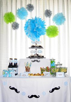 Little Man Baby Shower Food Decor I love the moustachetie banner