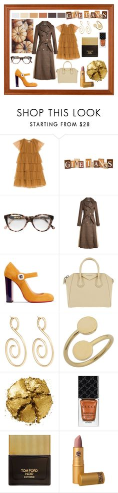 """""""Friendsgiving"""" by shoultesshark ❤ liked on Polyvore featuring Cutler and Gross, Rejina Pyo, Christian Louboutin, Givenchy, VRAM, Pat McGrath, Gucci, Tom Ford and Lipstick Queen"""