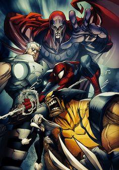 Magneto, Cable, Spider-Man & Wolverine by Gerardo Sandoval (Marvel comics) Marvel Comic Character, Comic Book Characters, Comic Book Heroes, Marvel Characters, Comic Books Art, Comic Art, Book Art, Hq Marvel, Marvel Comics Art