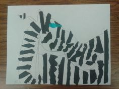 K kids draw basic animal shapes and fill in with torn paper. memmottsartideas.com