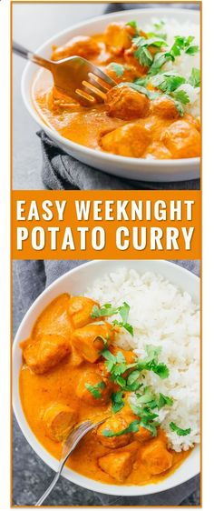 This easy vegetarian potato curry has a delicious orange sauce similar to an Indian tikka masala sauce. vegetarian chicken tikka masala recipe, dinner, fast, easy, recipe, dum aloo, vegan, indian, meals, sweet, chickpea, lentil, soup, thai, coconut via savory tooth