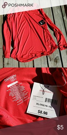 Danskin performance tee Danskin Now red performance tee.  Never worn. Still had tags.  88% polyester 12% spandex Danskin Now Tops Tees - Long Sleeve