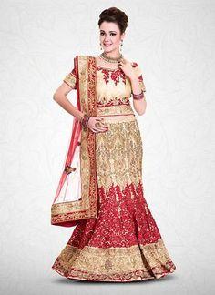 Red & Beige Mermaid Cut Bridal Lehenga Choli Online ,Indian Dresses - 1