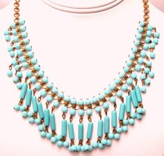 Miriam Haskell Turquoise Glass Bead Necklace
