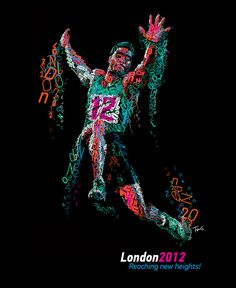 London 2012: Reaching new heights.    A typographic mosaic portraing Cuban athlete Wilfredo Martinez. Inspired by the upcoming olympiad in London.