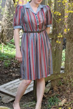 Vintage Avon Fashions Striped belted Day Dress by ThisaThatVintage, $12.00