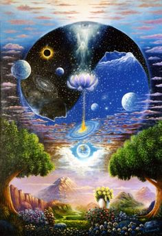 same as the one before this art, i found this when seeking about transcendent and spiritual-art. my bad didn't remember the owener and the link of this art was found Psychedelic Art, Hippie Art, Visionary Art, Surreal Art, Yin Yang, Oeuvre D'art, Art Inspo, Fantasy Art, Cool Art