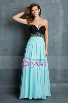 Hot Selling Bicolor Prom Dresses Sweetheart A Line Chiffon With Beads Ruffled $139.99 STP71P9FCP - StylishPromDress.com