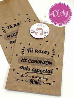 bfa001312 Bolsas de papel con frases para agradecer a los invitados de la comunión.  Las enconrarás en www.detallesymas.es