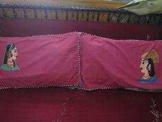maharaja maharani painted pillow covers