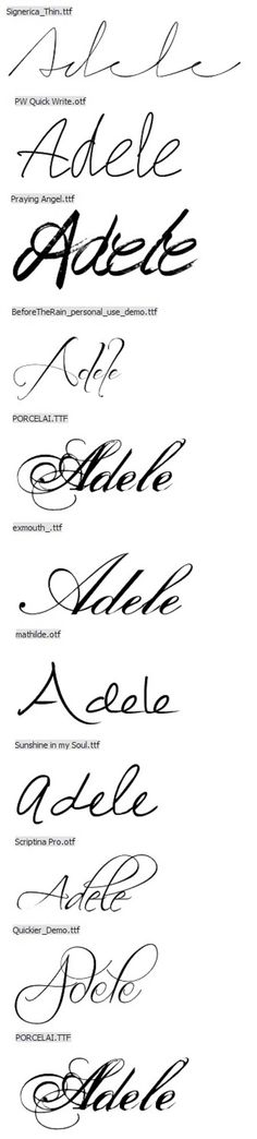 my middle name in different fonts for tattoo. Also my Nana & Mom's middle name <3
