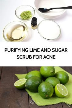 This purifying lime and sugar scrub has numerous benefits for reducing acne, pimples and even acne scars. Discover why it's been proven to work so well. Diy Beauty, Beauty Tips, Beauty Hacks, Coconut Benefits, Dandruff Remedy, Home Spa Treatments, Bath Recipes, Homemade Scrub, Dark Circles Under Eyes