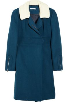Carven | Fleece-collared wool and cashmere-blend coat | NET-A-PORTER.COM